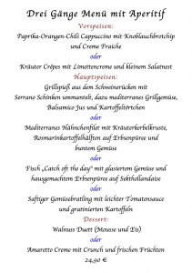 Drei Gänge Menü mit Aperitif 19.12.2014